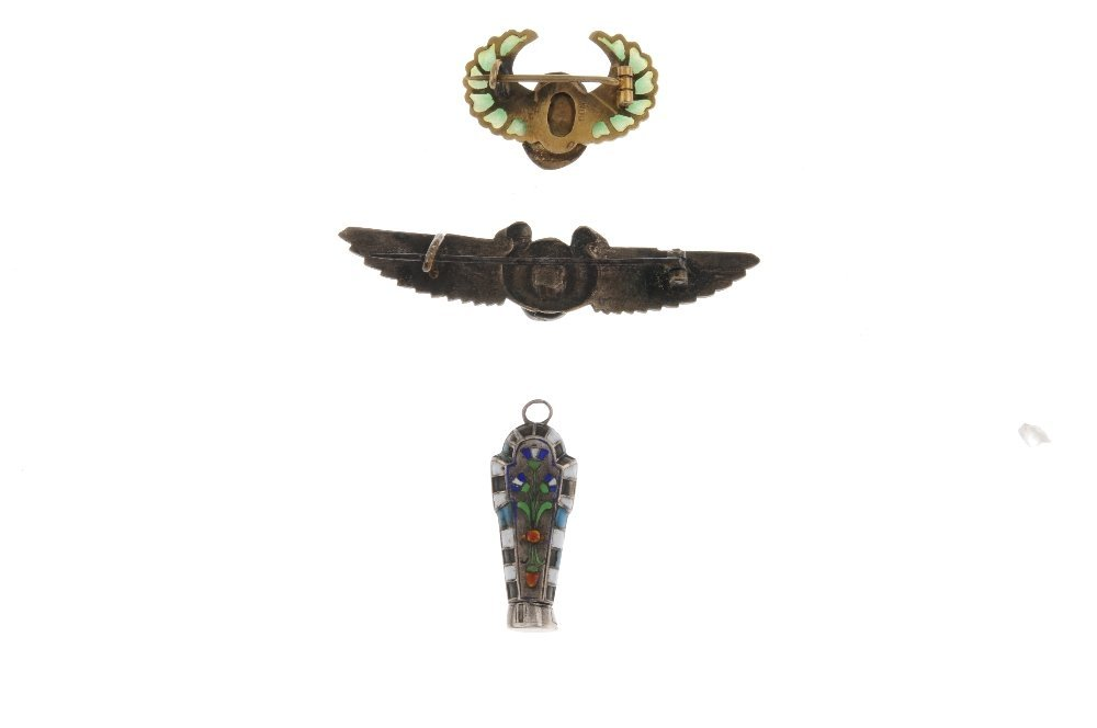 Two Egyptianesque brooches and a pendant. The first - 2