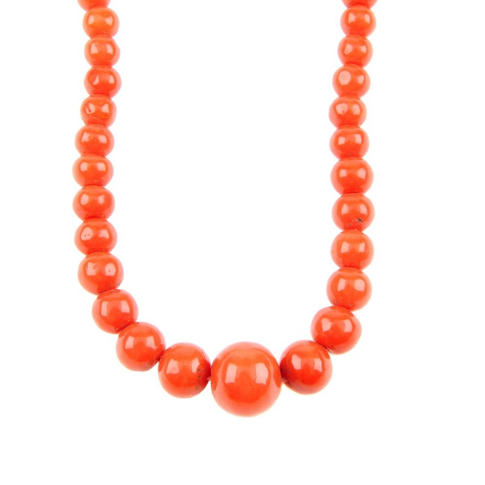 A coral bead necklace. Designed as a single-row of
