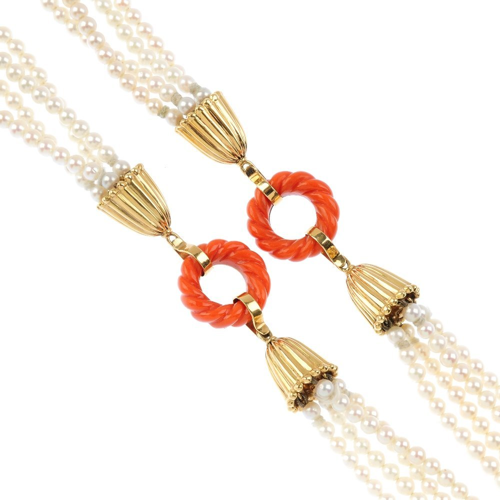A coral and cultured pearl necklace. Designed as four