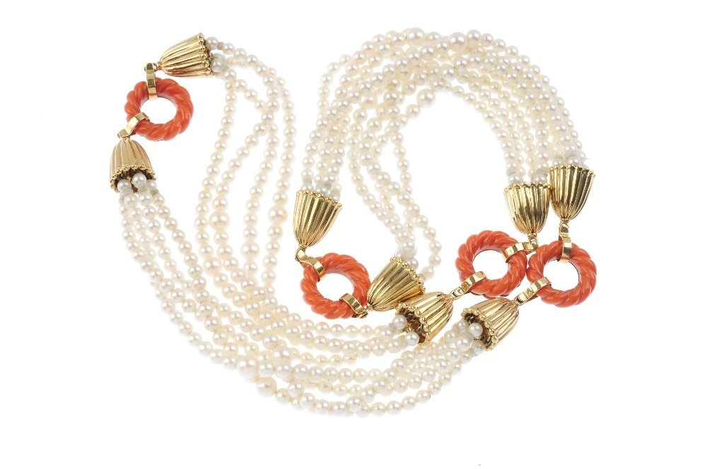 A coral and cultured pearl necklace. Designed as four - 2