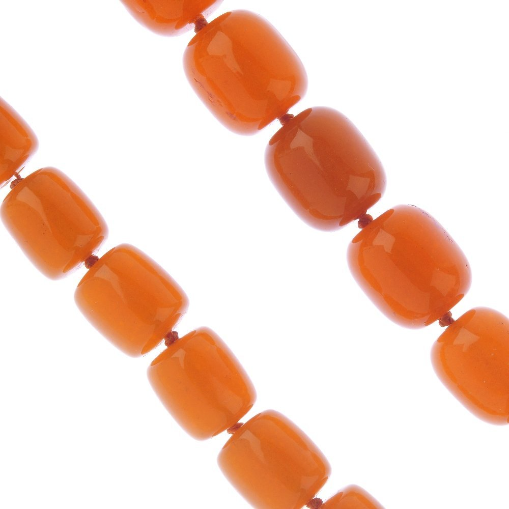 A reconstructed amber bead necklace. Comprising a