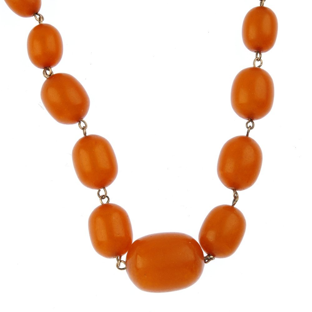 A reconstructed amber bead necklace. Designed as