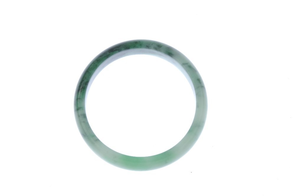 Two gem bangles. To include a plain D-shape jade bangle - 2