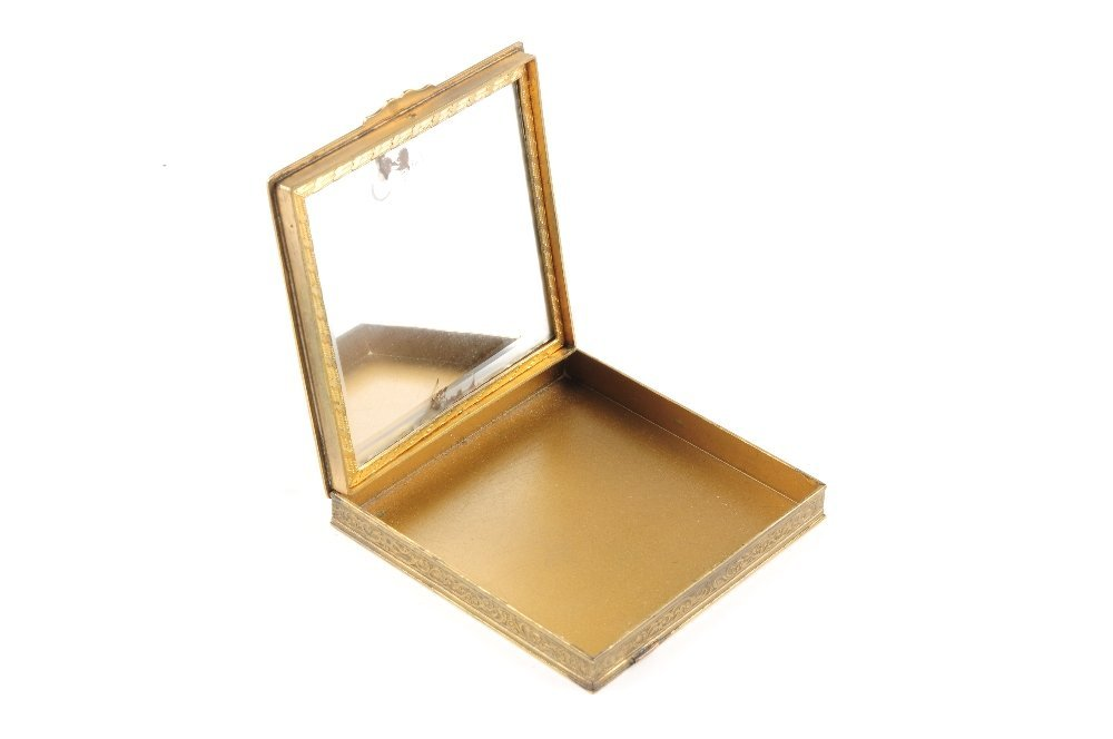 An enamel compact. The square shape compact with black - 3