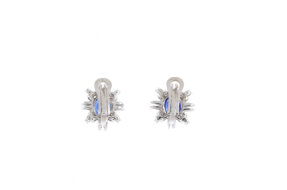 A pair of Burma sapphire and diamond earrings. Each - 2