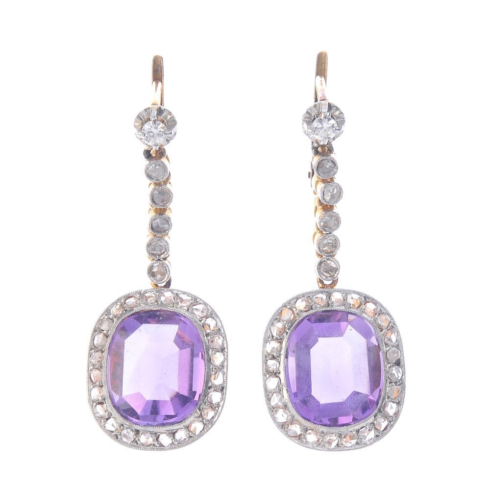 A set of amethyst and diamond jewellery. To include a