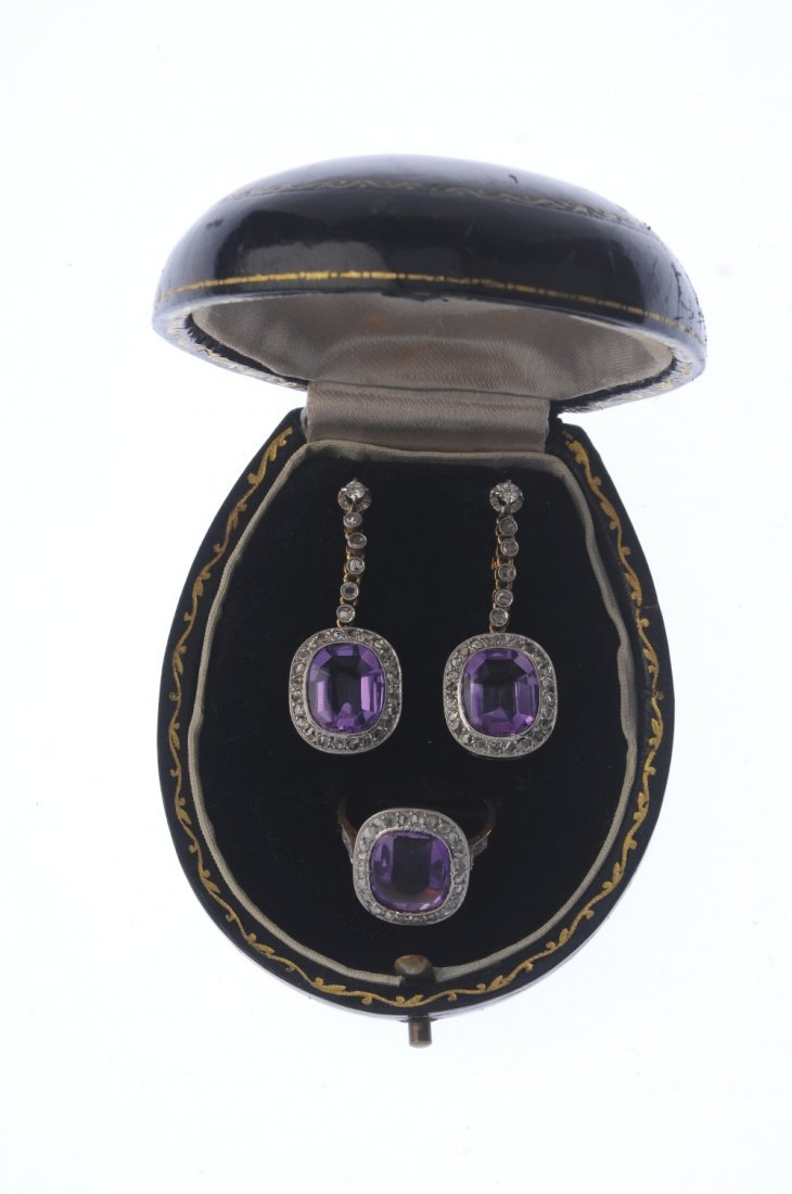 A set of amethyst and diamond jewellery. To include a - 3