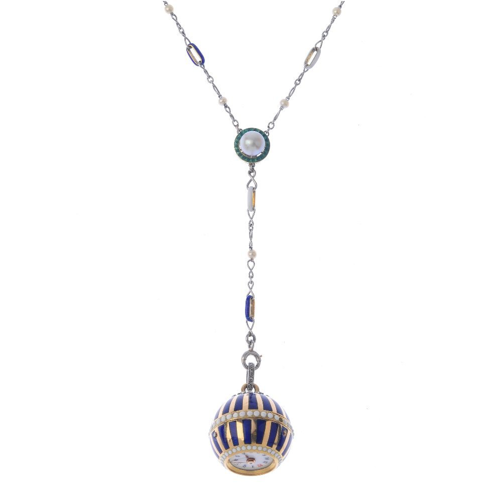 A pearl, enamel and diamond fob watch. The striped blue