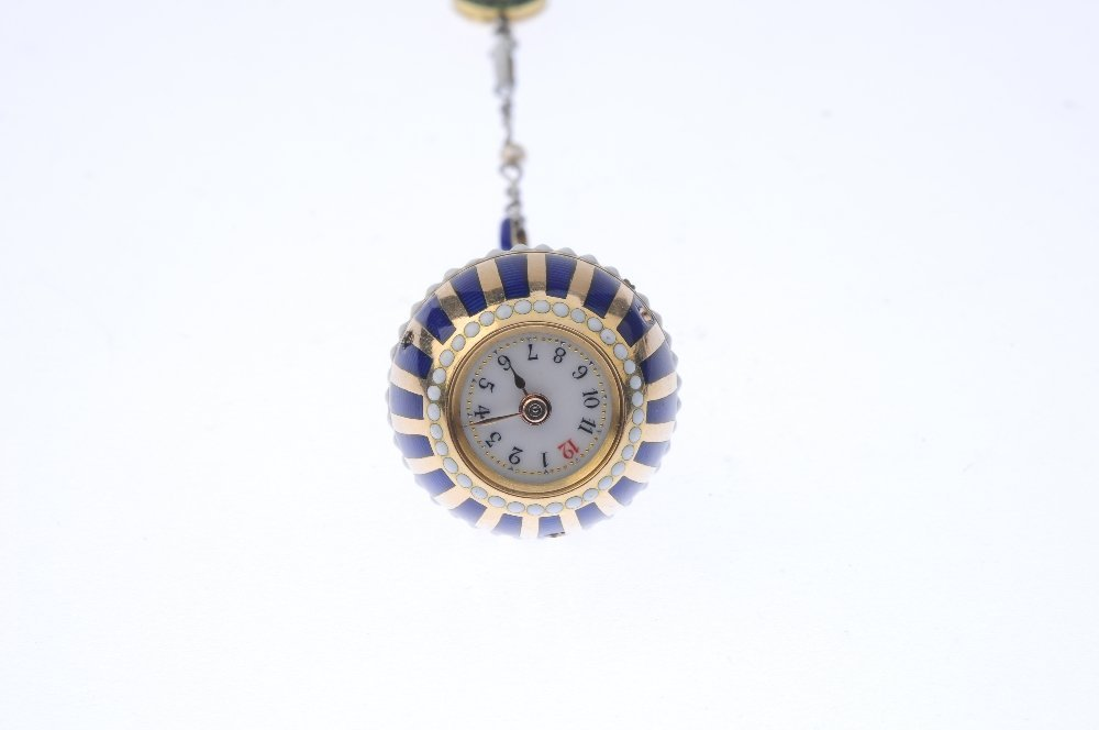 A pearl, enamel and diamond fob watch. The striped blue - 2