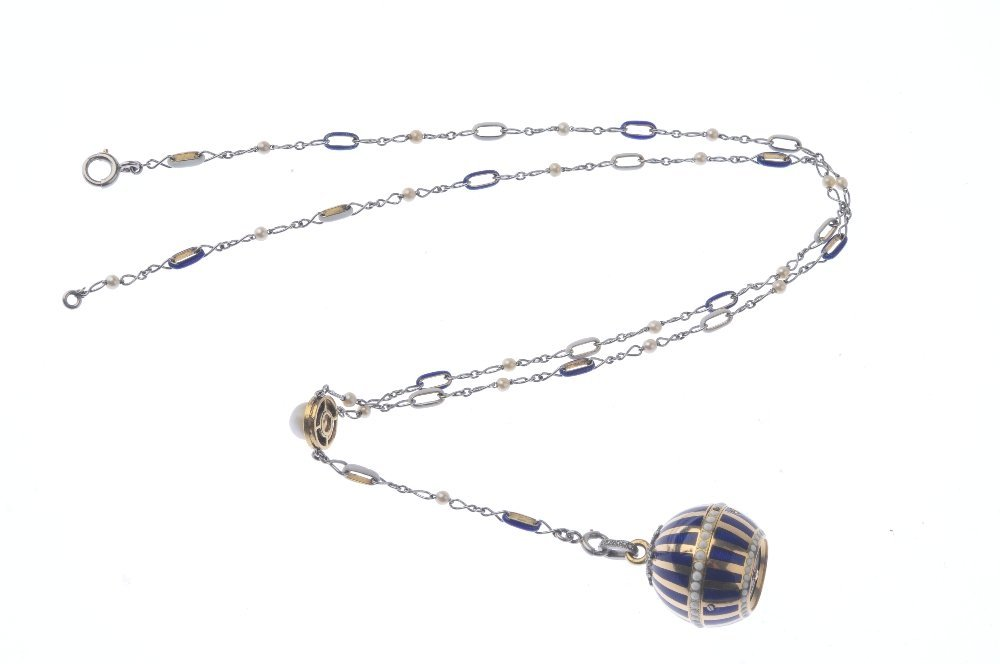 A pearl, enamel and diamond fob watch. The striped blue - 3