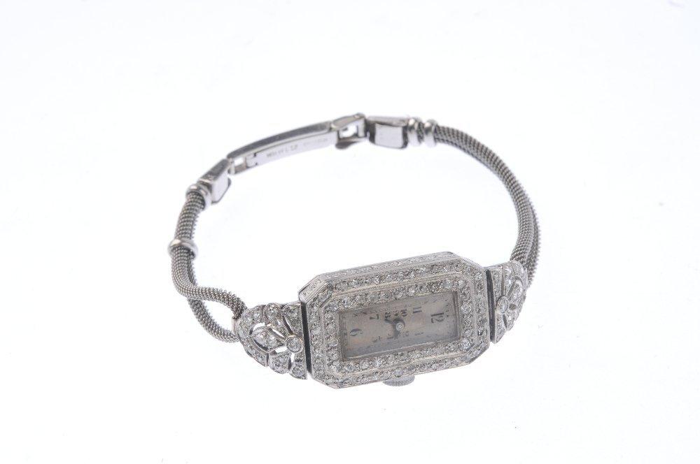 A diamond cocktail watch. The rectangular-shape cream - 3