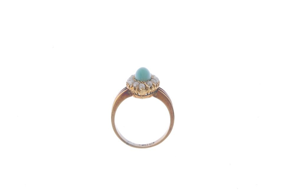 A late Victorian 18ct gold turquoise and pearl ring. - 2