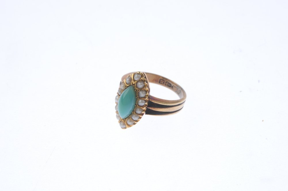 A late Victorian 18ct gold turquoise and pearl ring. - 3