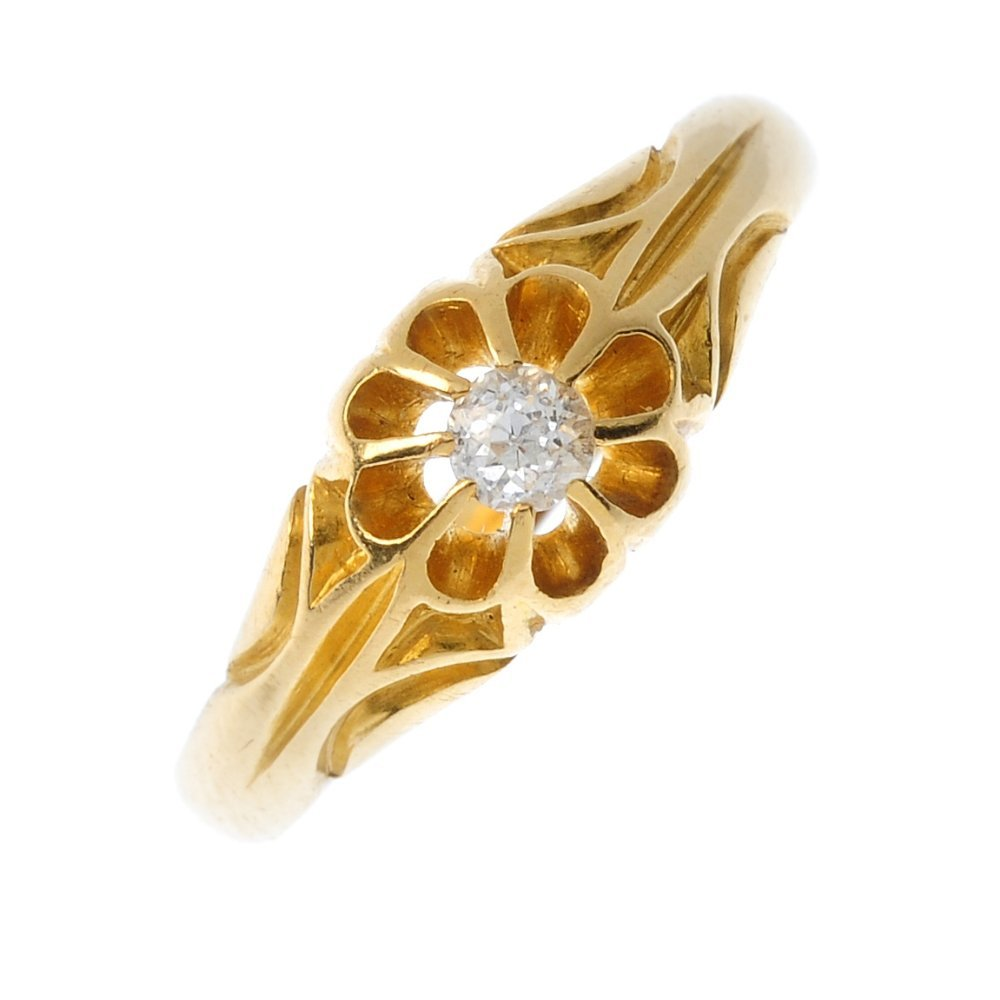An early 20th century 18ct gold diamond single-stone