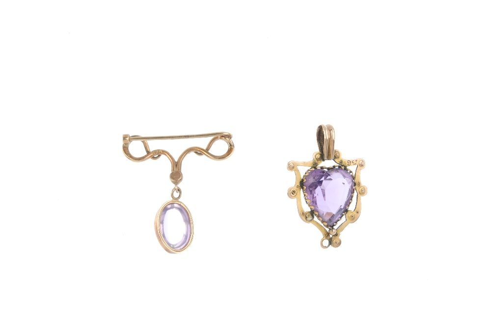 An early 20th century amethyst pendant and an amethyst - 2