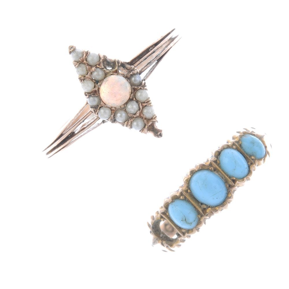 Two gem-set rings and a pendant. To include an opal and