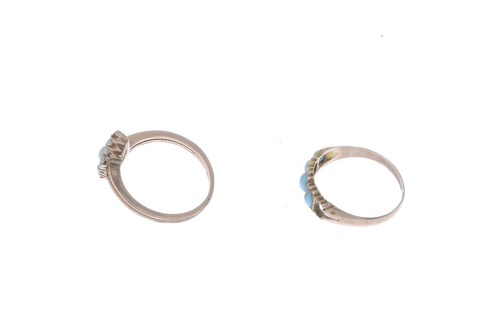 Two gem-set rings and a pendant. To include an opal and - 2