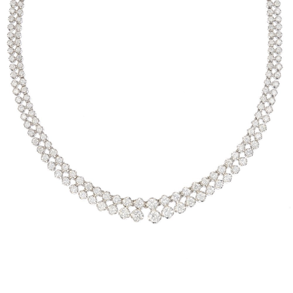 A diamond two-row necklace. The brilliant-cut diamond