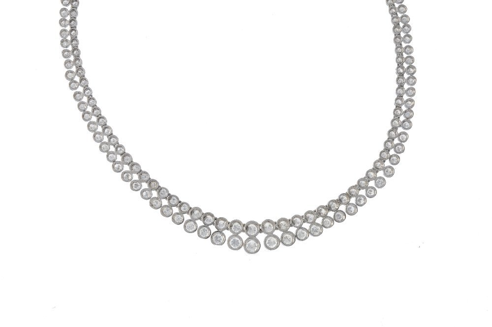 A diamond two-row necklace. The brilliant-cut diamond - 2