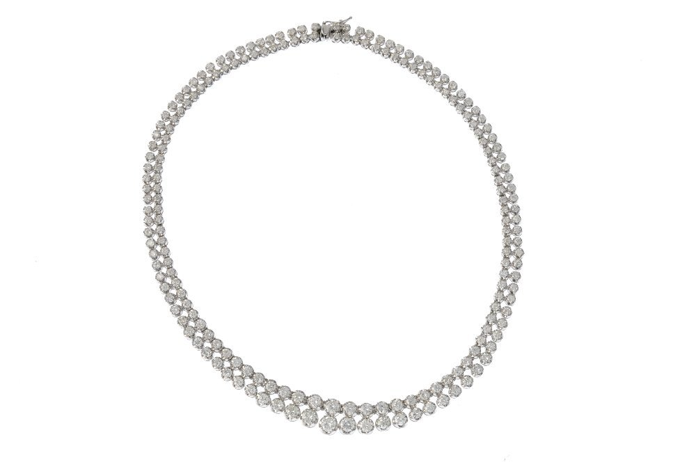 A diamond two-row necklace. The brilliant-cut diamond - 3