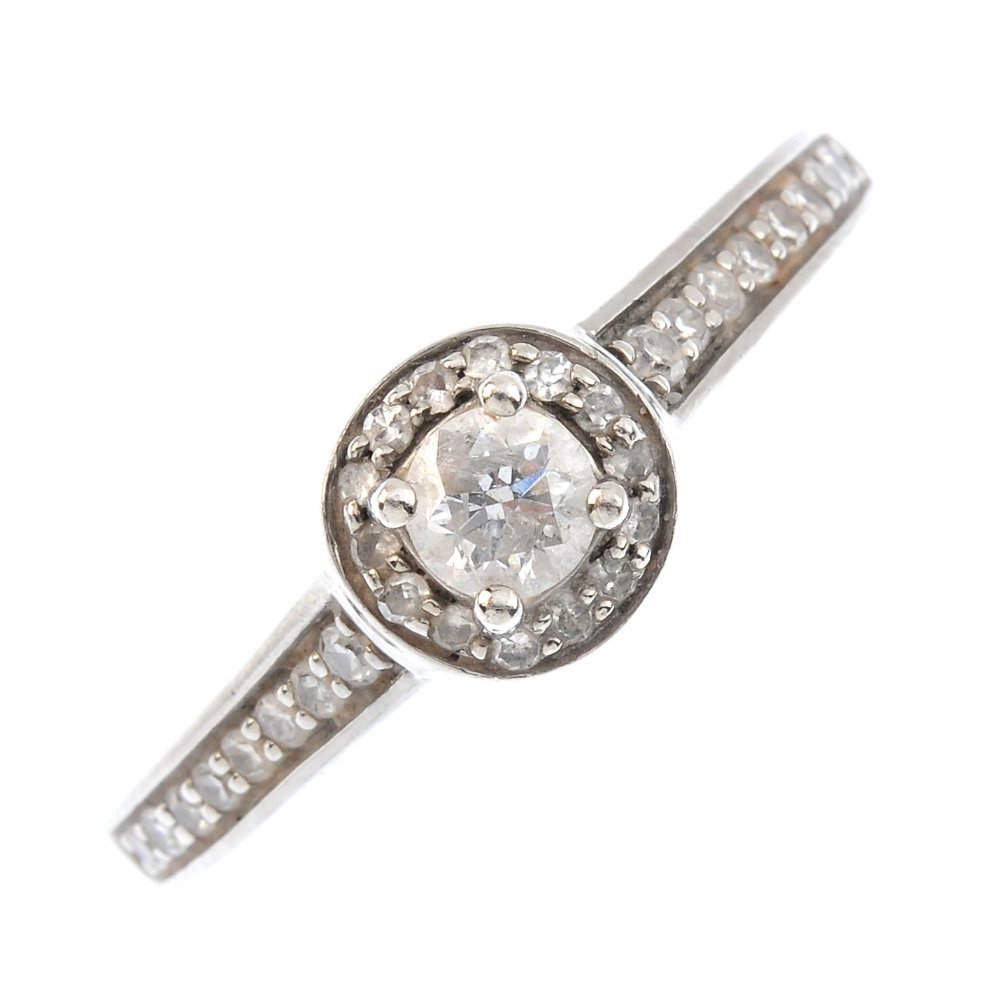 A palladium diamond single-stone ring. The