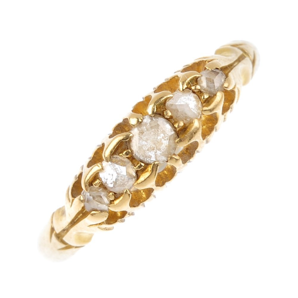 A late Victorian 18ct gold diamond ring. The graduated