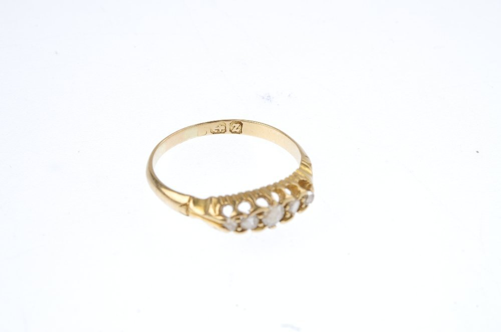 A late Victorian 18ct gold diamond ring. The graduated - 3