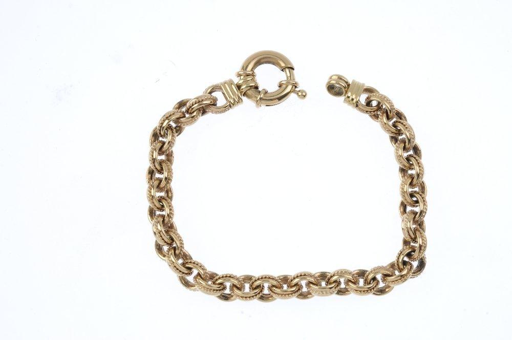 A 9ct gold fancy-link bracelet. Designed as a - 2