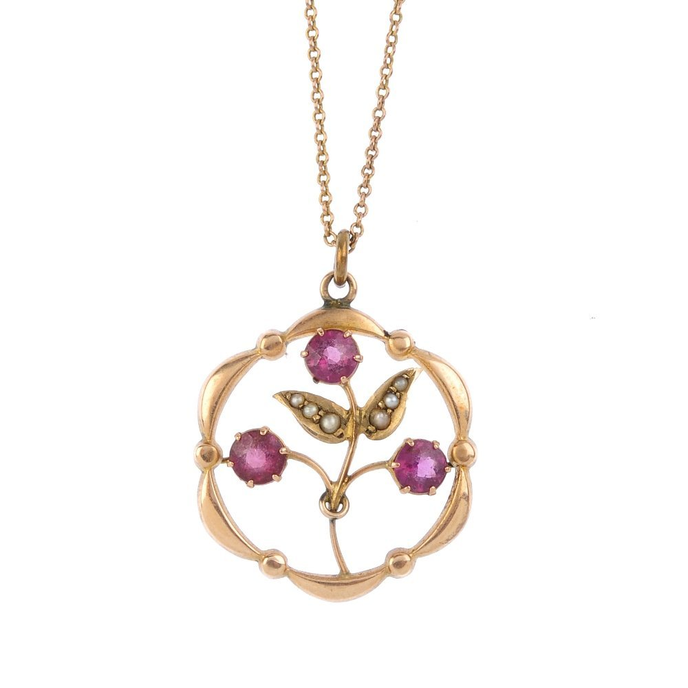An early 20th century 9ct gold pendant, with chain. Of