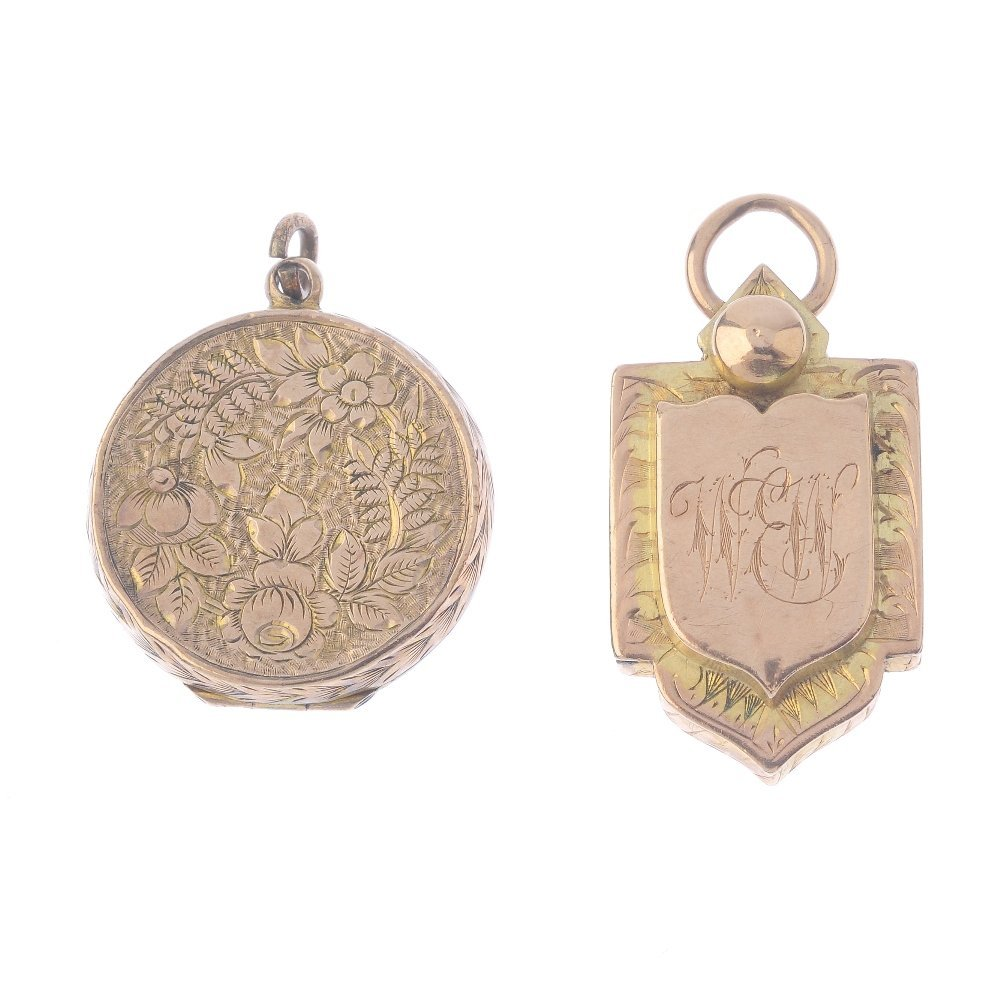 Two Victorian gold lockets. The first of circular