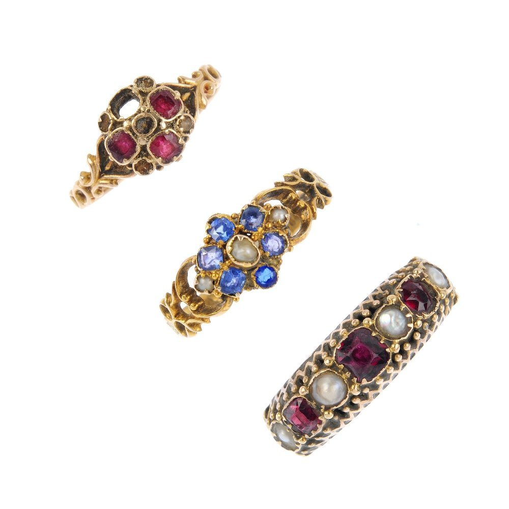 Three late Victorian gold gem-set rings. To include a