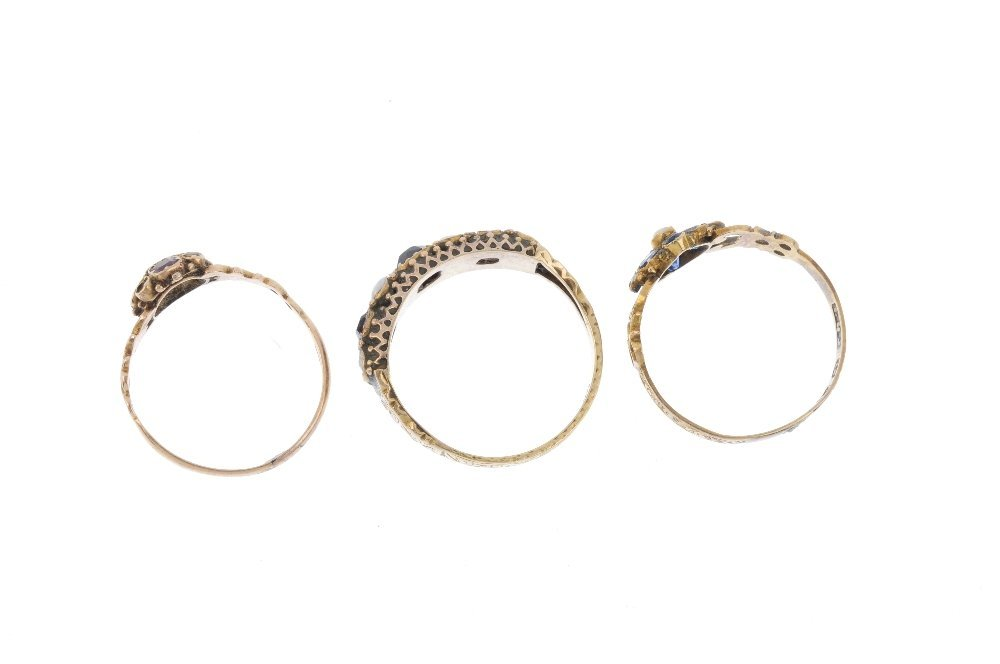 Three late Victorian gold gem-set rings. To include a - 2