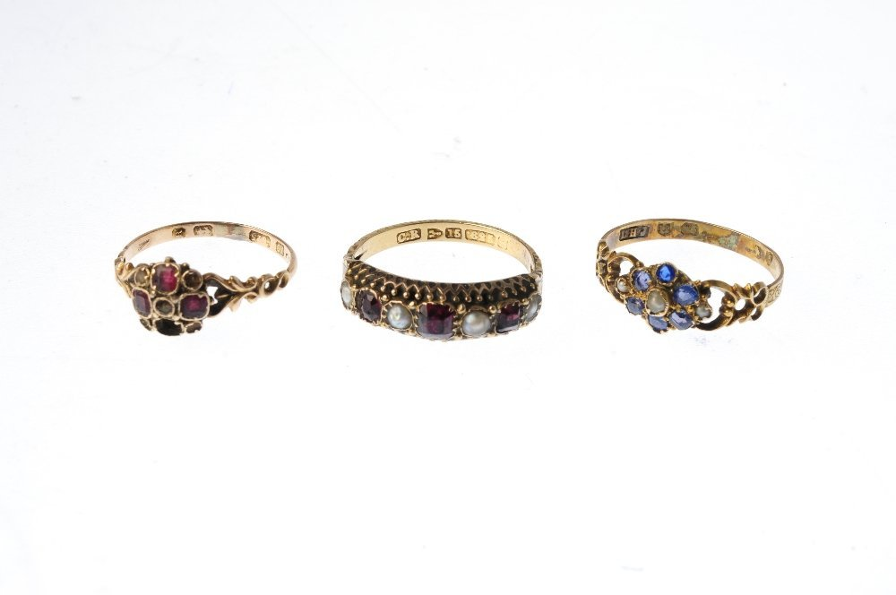 Three late Victorian gold gem-set rings. To include a - 3