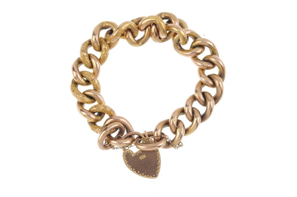 A late Victorian 9ct gold curb-link bracelet, circa - 2