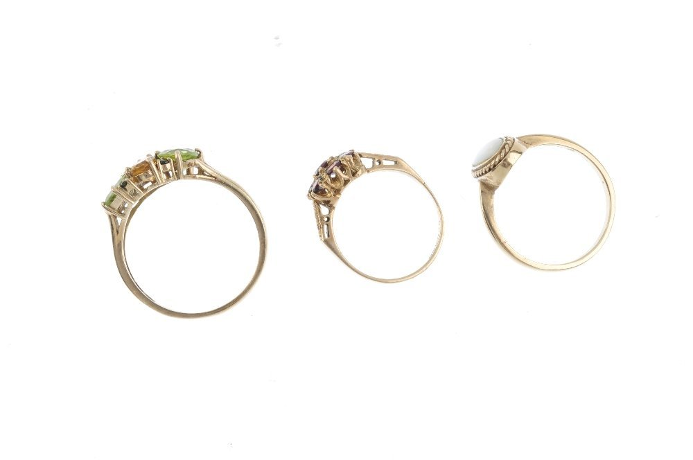Three 9ct gold gem-set dress rings. To include an opal - 2