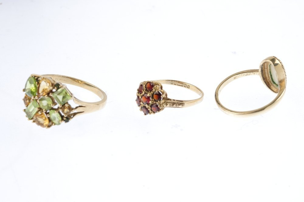 Three 9ct gold gem-set dress rings. To include an opal - 3