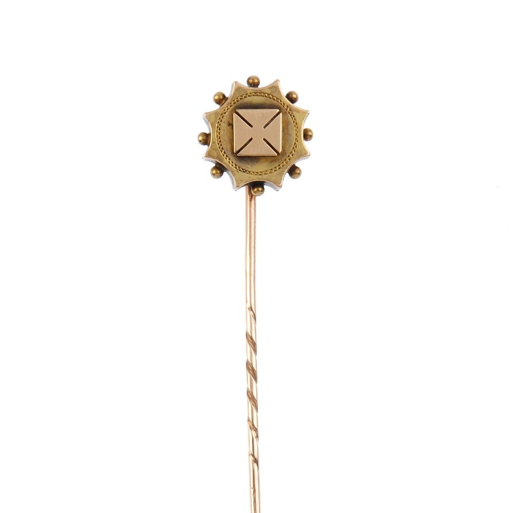 A late 19th century gold stickpin. Designed as a