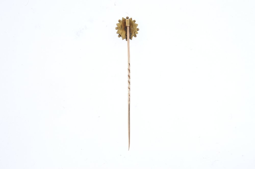 A late 19th century gold stickpin. Designed as a - 2
