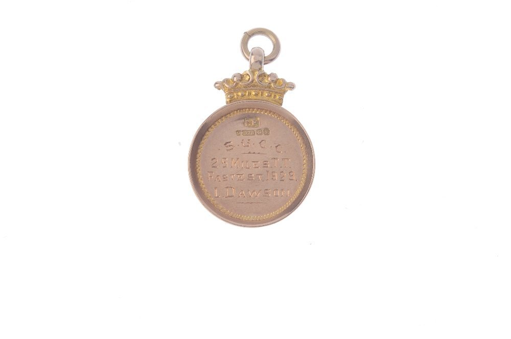 A 1920s 9ct gold T.T. Race medallion. The vacant shield - 2
