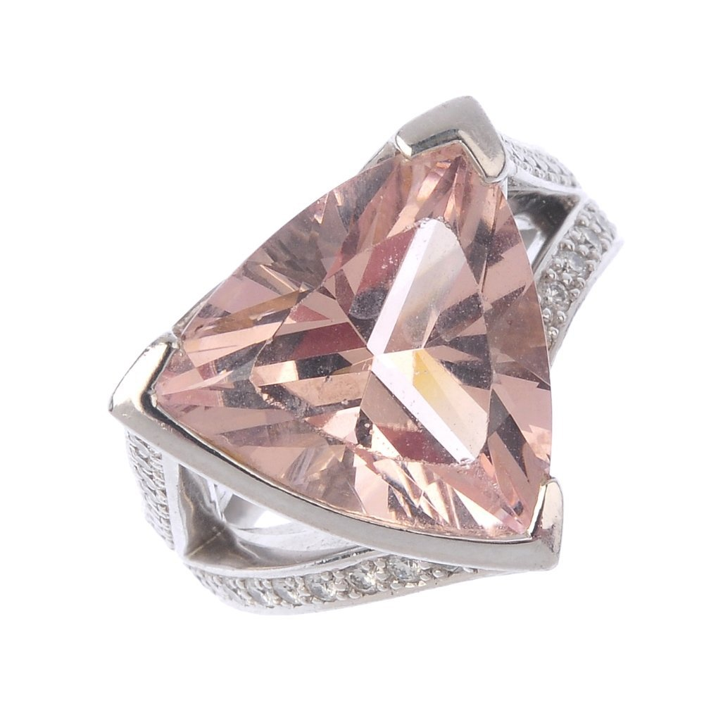 BOODLES - an 18ct gold kunzite and diamond ring. The