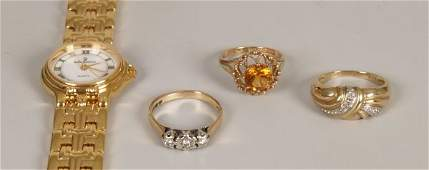 392: Four items of jewellery to include a 9ct gold thre