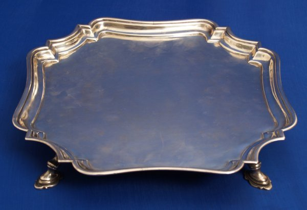 926: George ll - a square salver with canted corners an