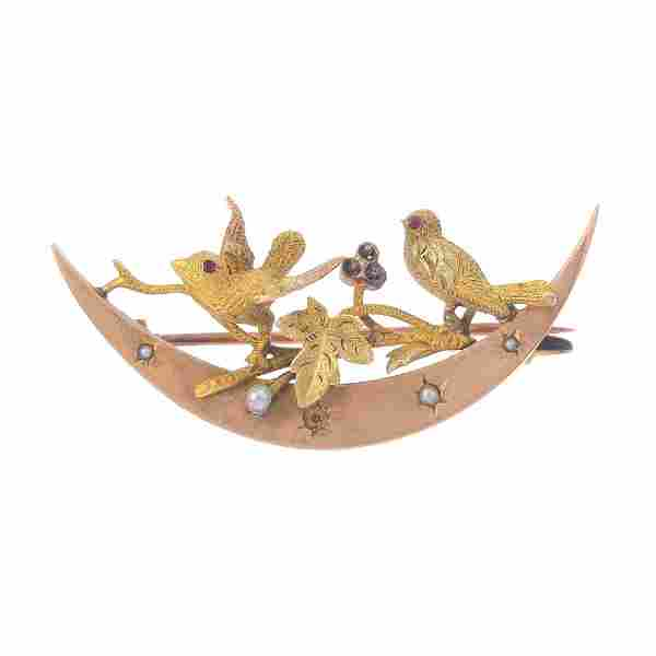 A late Victorian gold split pearl brooch. Designed as