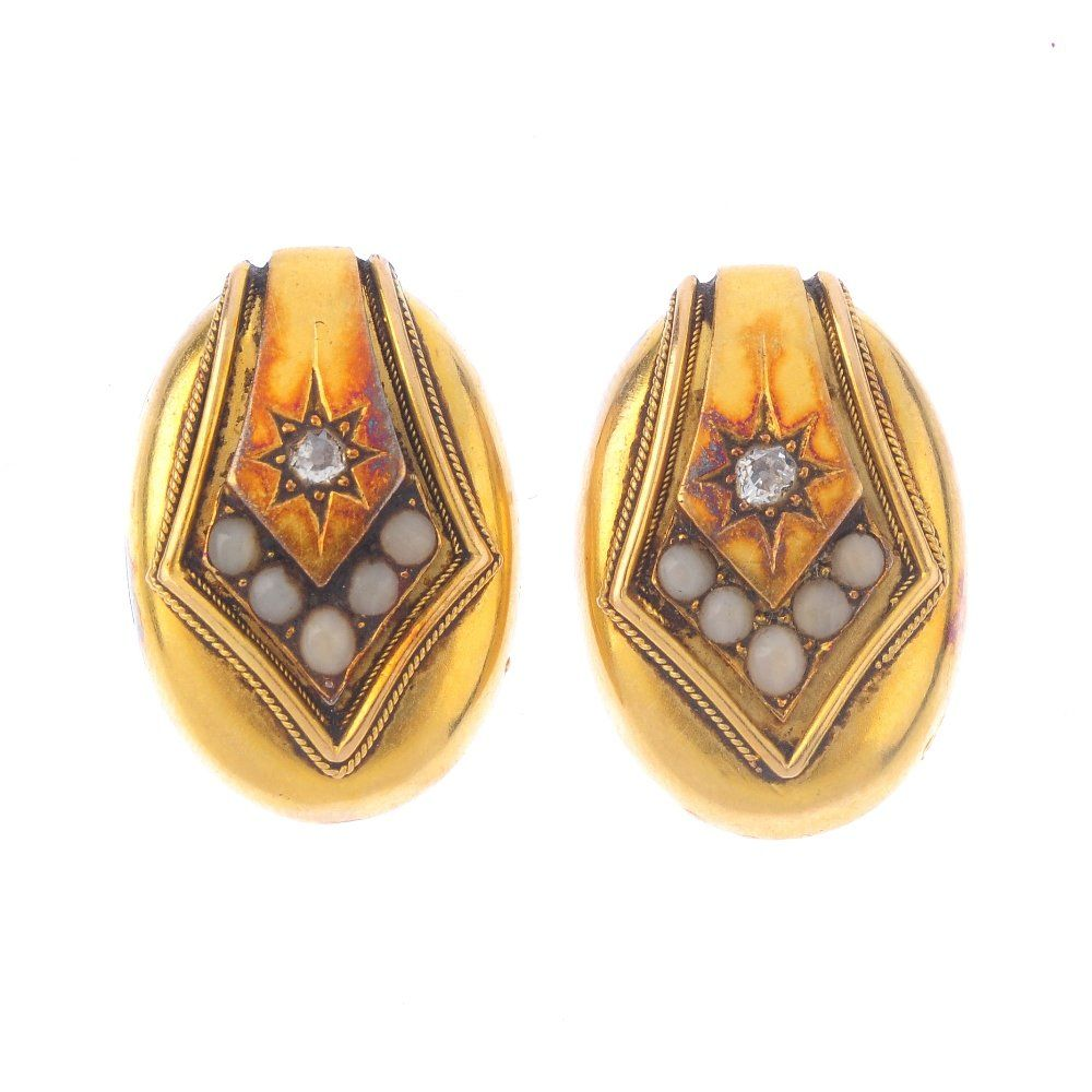 A pair of late Victorian gold, diamond and coral