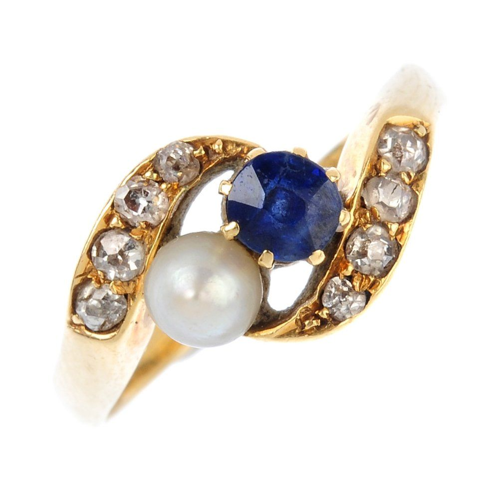 An Edwardian 18ct gold diamond and gem-set crossover