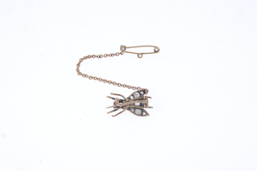 A late Victorian silver and gold diamond fly brooch. - 2