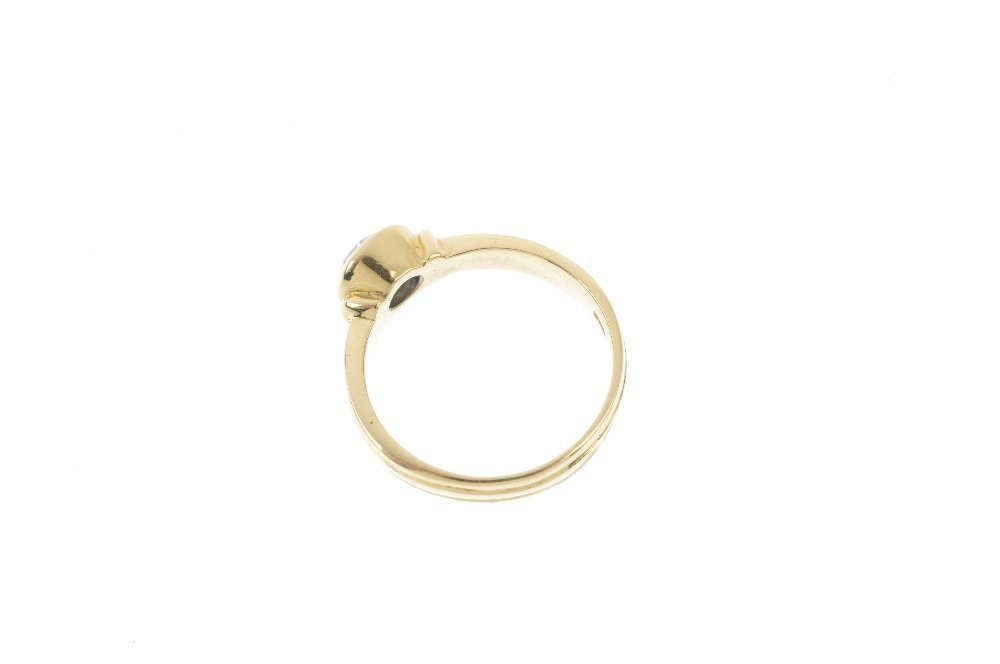 A 14ct gold diamond single-stone ring. The - 2