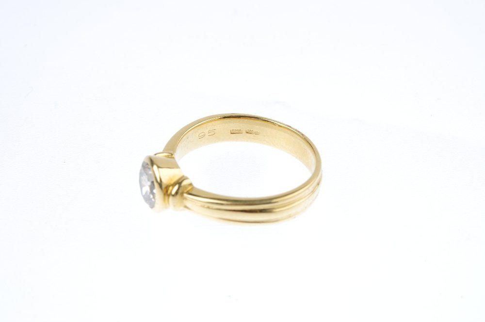 A 14ct gold diamond single-stone ring. The - 3