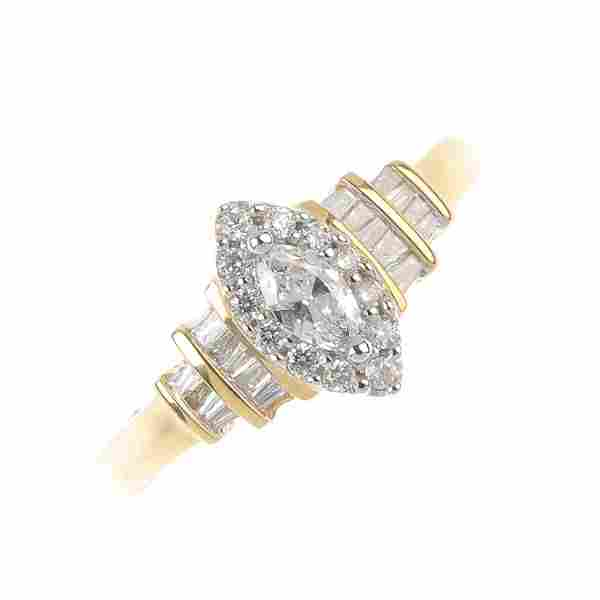 An 18ct gold diamond cluster ring. Of marquise-shape