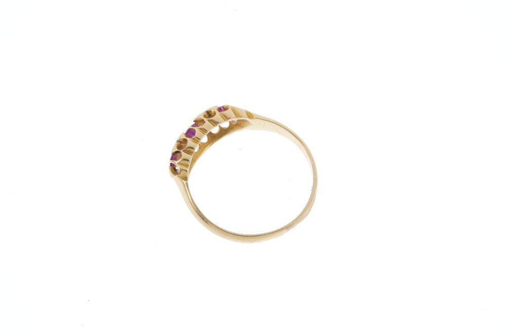 An Edwardian 18ct gold ruby and diamond ring. The - 2